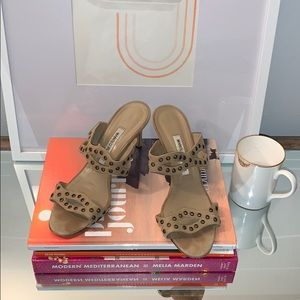 MANOLO BLAHNIK Studded taupe Suede sandals